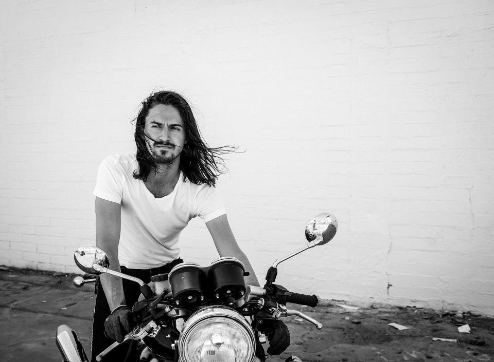 black and white, people, man, guy, rider, riding, motorcycle, bigbike