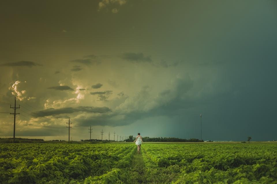 girl, woman, field, grass, nature, landscape, sky, clouds, cloudy, storm, power lines, people, green, dress