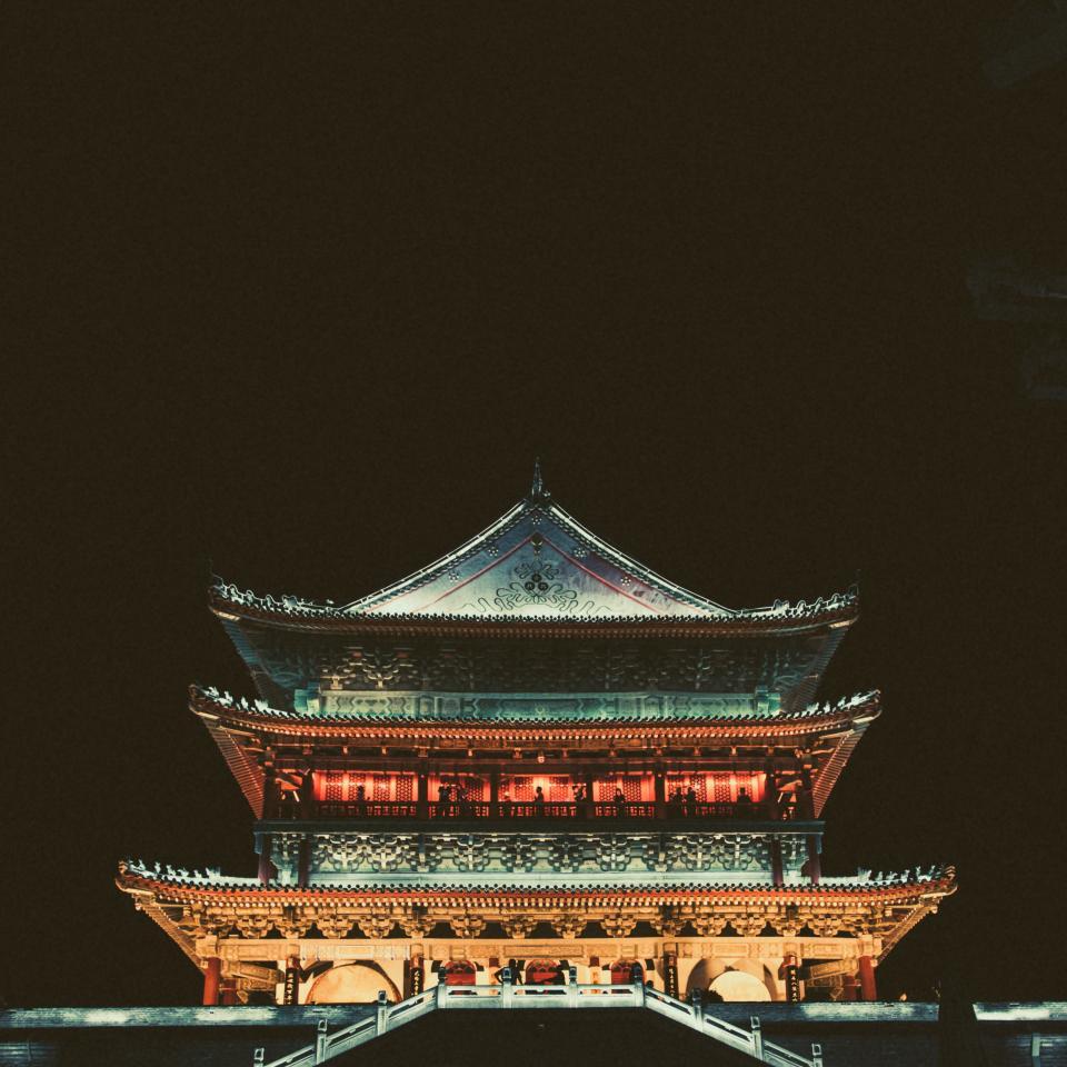 architecture, building, dark, night, temple, china