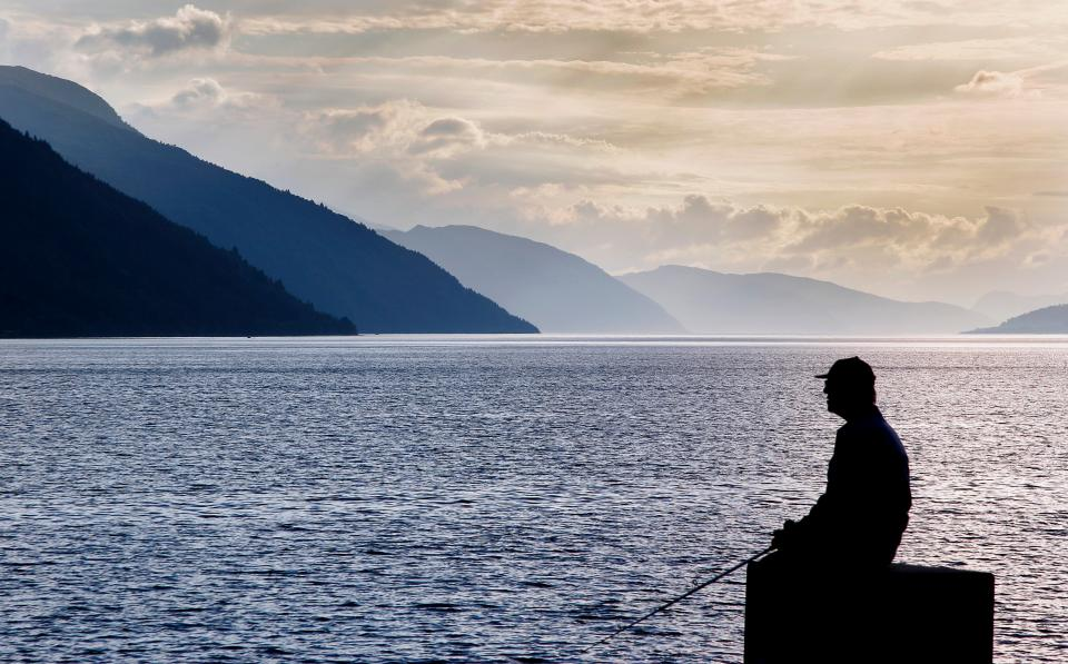 sea, ocean, water, waves, nature, mountain, clouds, sky, people, alone, man, silhouette, sitting, fishing, horizon