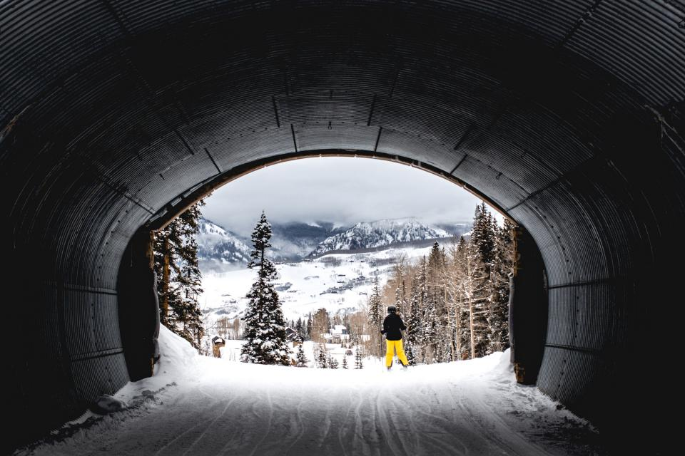 tunnel, nature, trees, winter, snow, mountains, skiing, people, downhill