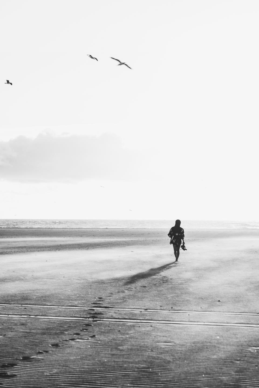 black and white, people, girl, walking, alone, beach, sea, ocean, water, shore, footprints, sky, birds, flying, animal, nature, horizon