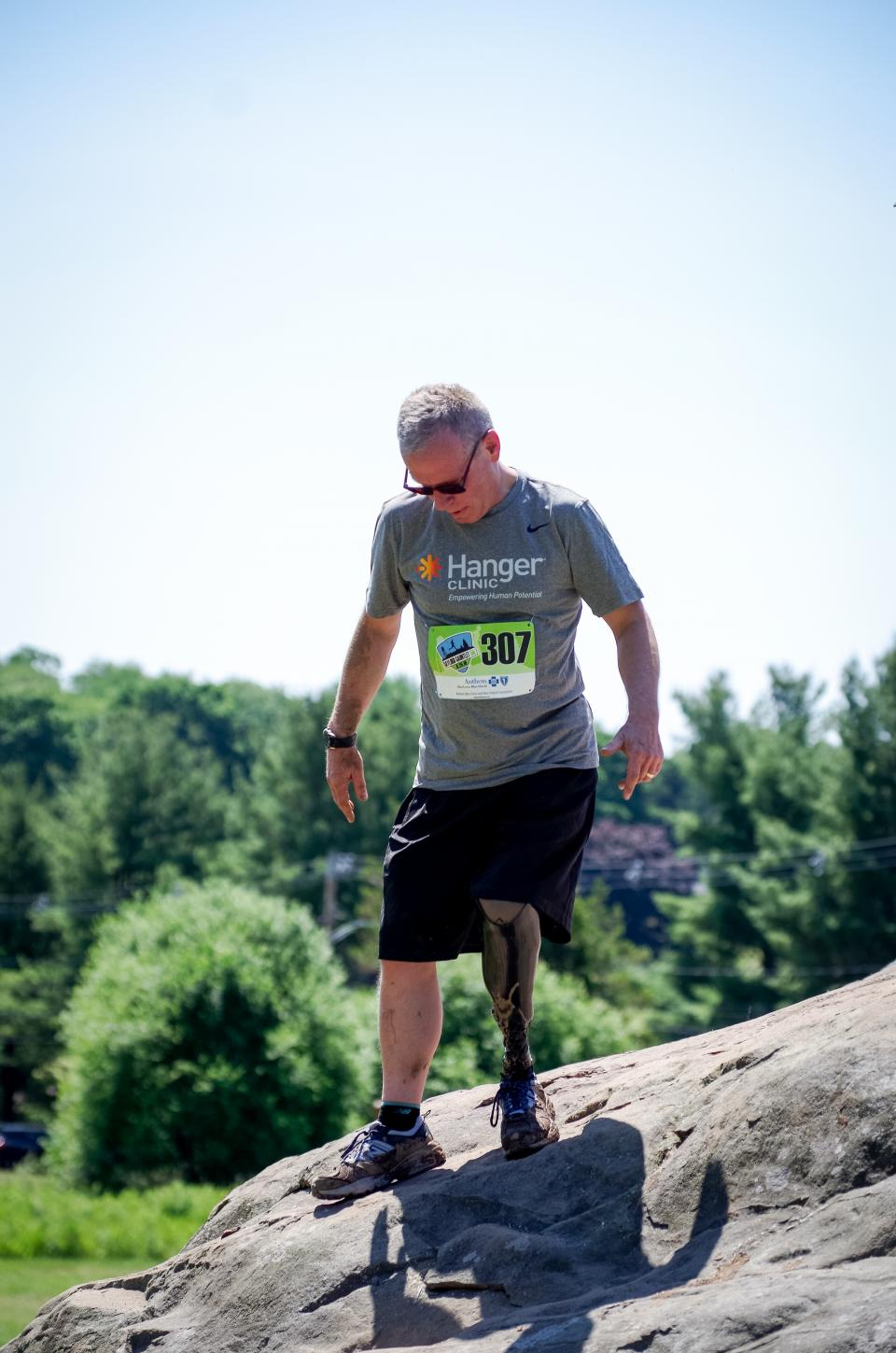 people, man, sunny, day, adventure, outdoor, nature, rock, tree, plant, blue, sky, cloud, blur, hiking, fitness, exercise, health