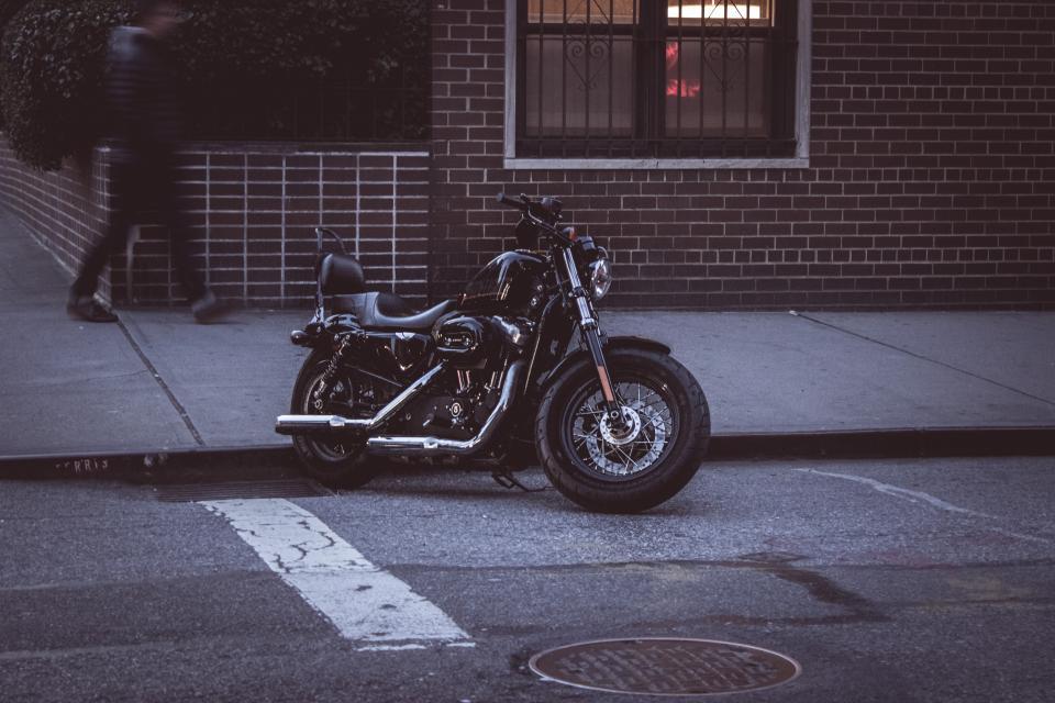 bike, motorcycle, street, sidewalk, pavement, city