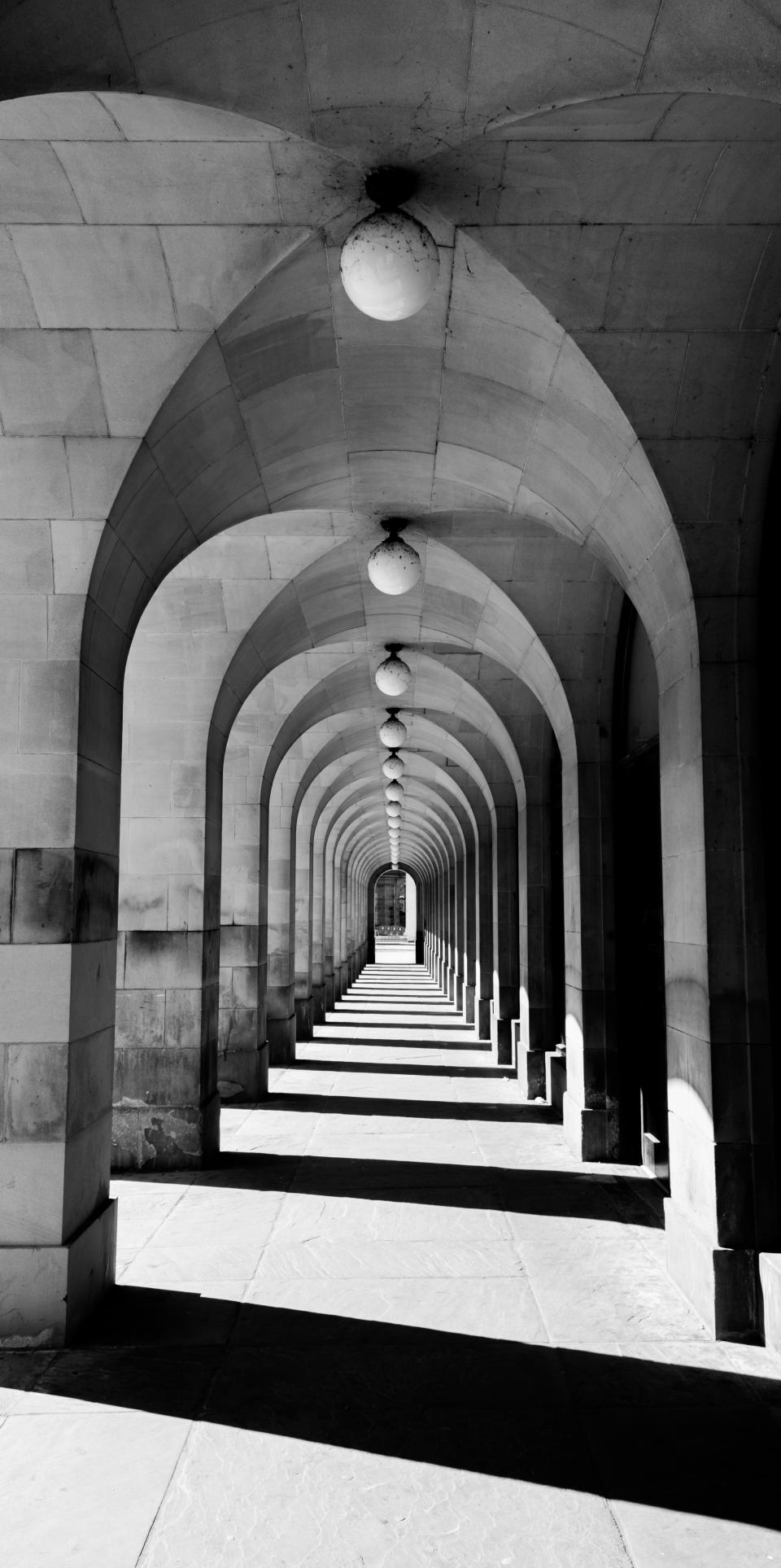architecture, building, infrastructure, sunny, hallway, light, bulb, black and white