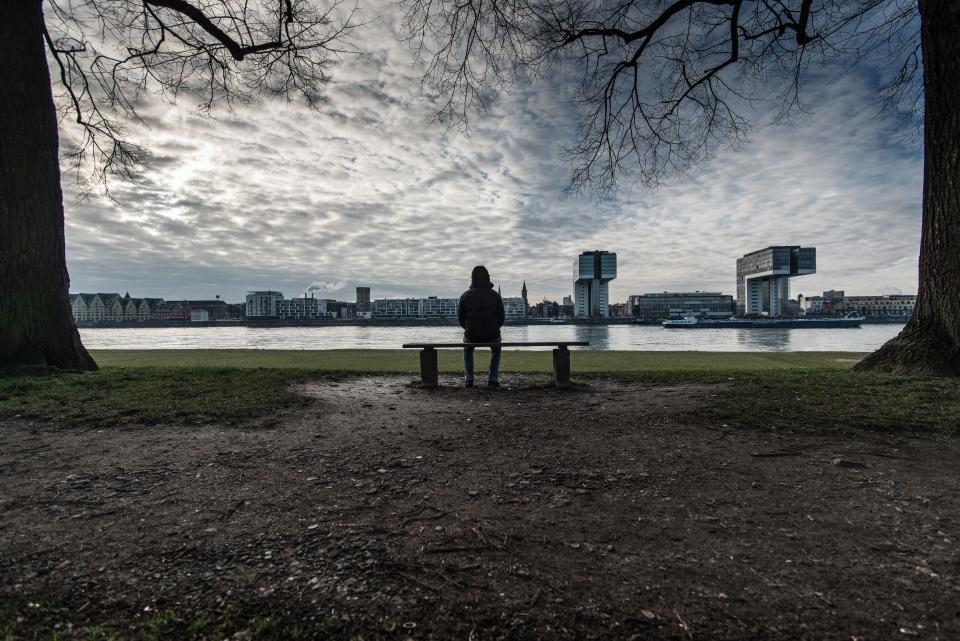 architecture, building, infrastructure, skyscraper, tower, skyline, city, urban, view, green, grass, nature, outdoor, sea, water, fog, tree, branch, plant, bench, people, man, sitting, alone, sad