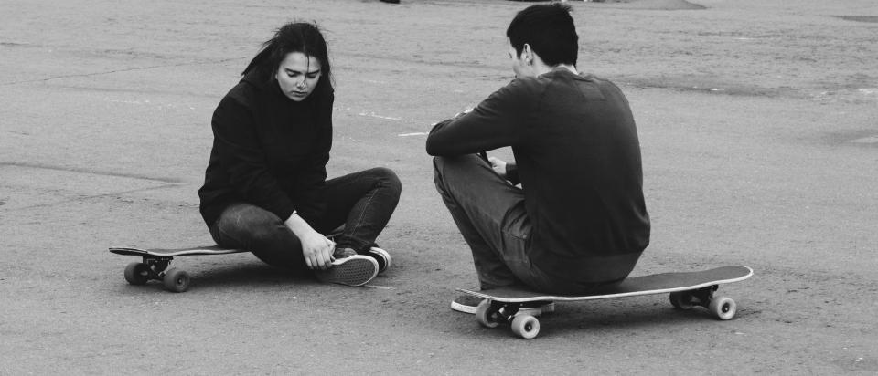 skateboard, people, girl, man, sitting, outside, play, adventure