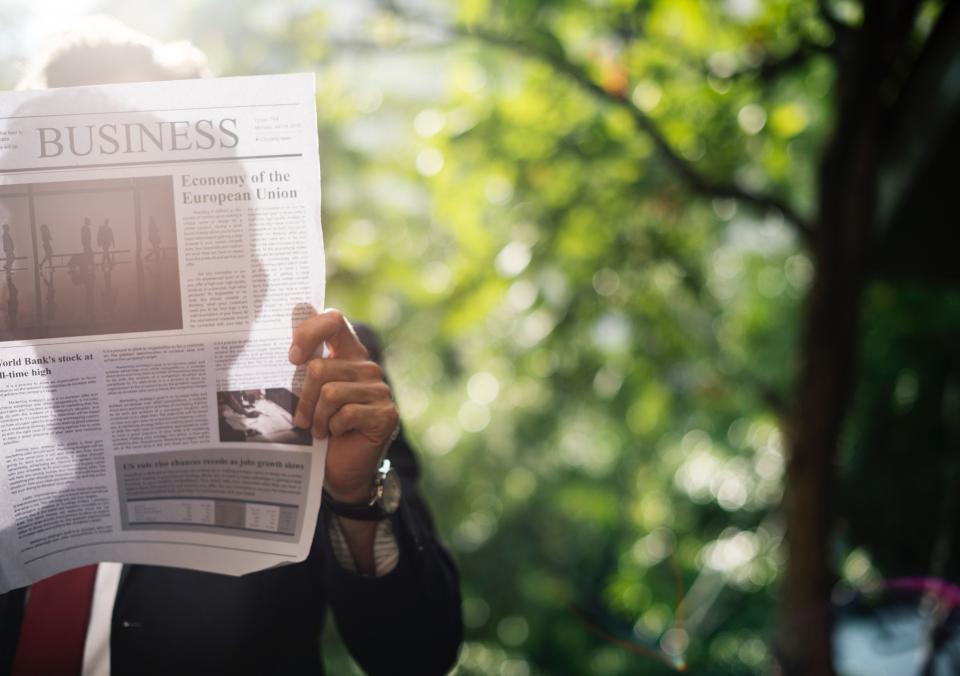 people, businessman, hand, wrist, watch, time, reading, newspaper, bokeh
