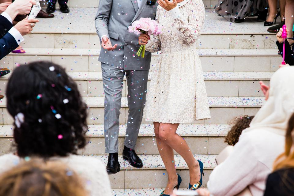 people, couple, wedding, marriage, party, celebration, happy, event, occasion, stairs, confetti, steps, family, beauty