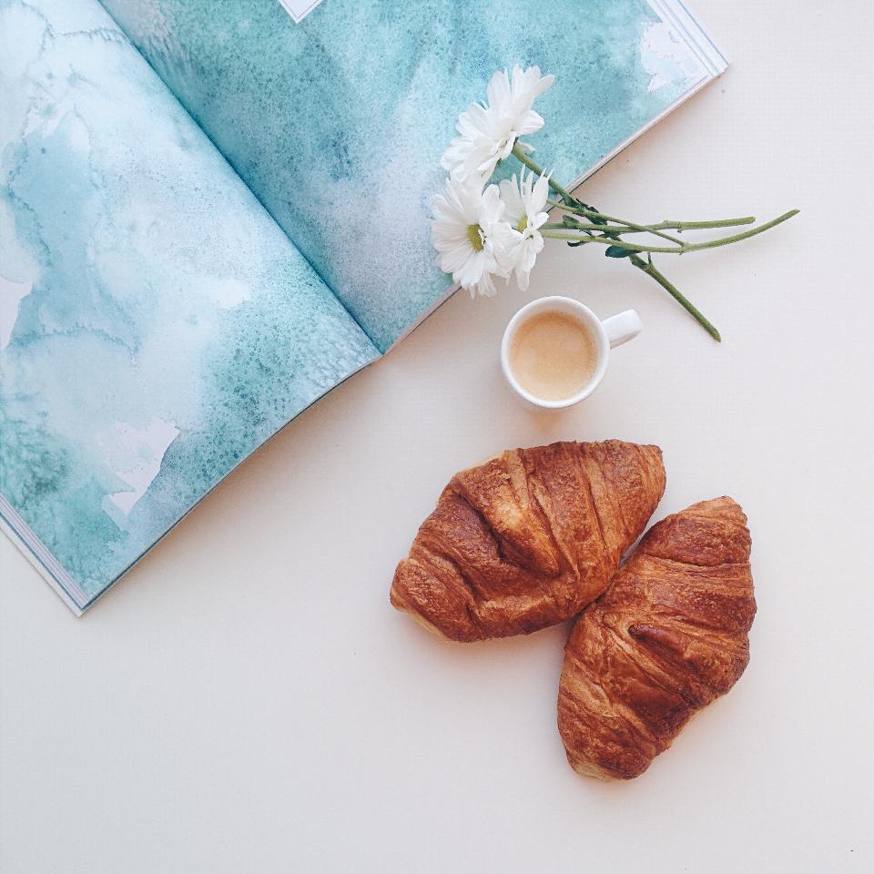 espresso coffee croissants breakfast food morning flowers book reading