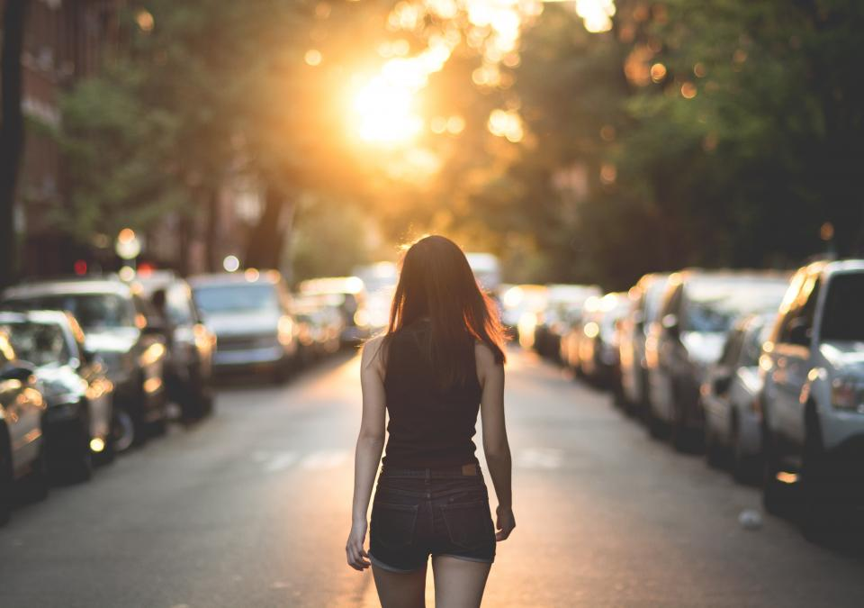 people girl lady sexy walking road sunrise sunset outdoor car parking