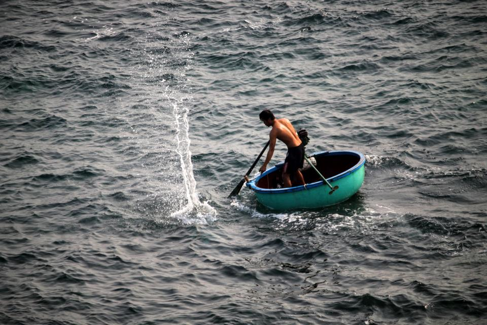 people, man, boat, sailing, paddle, fishing, sea, ocean, water, splash