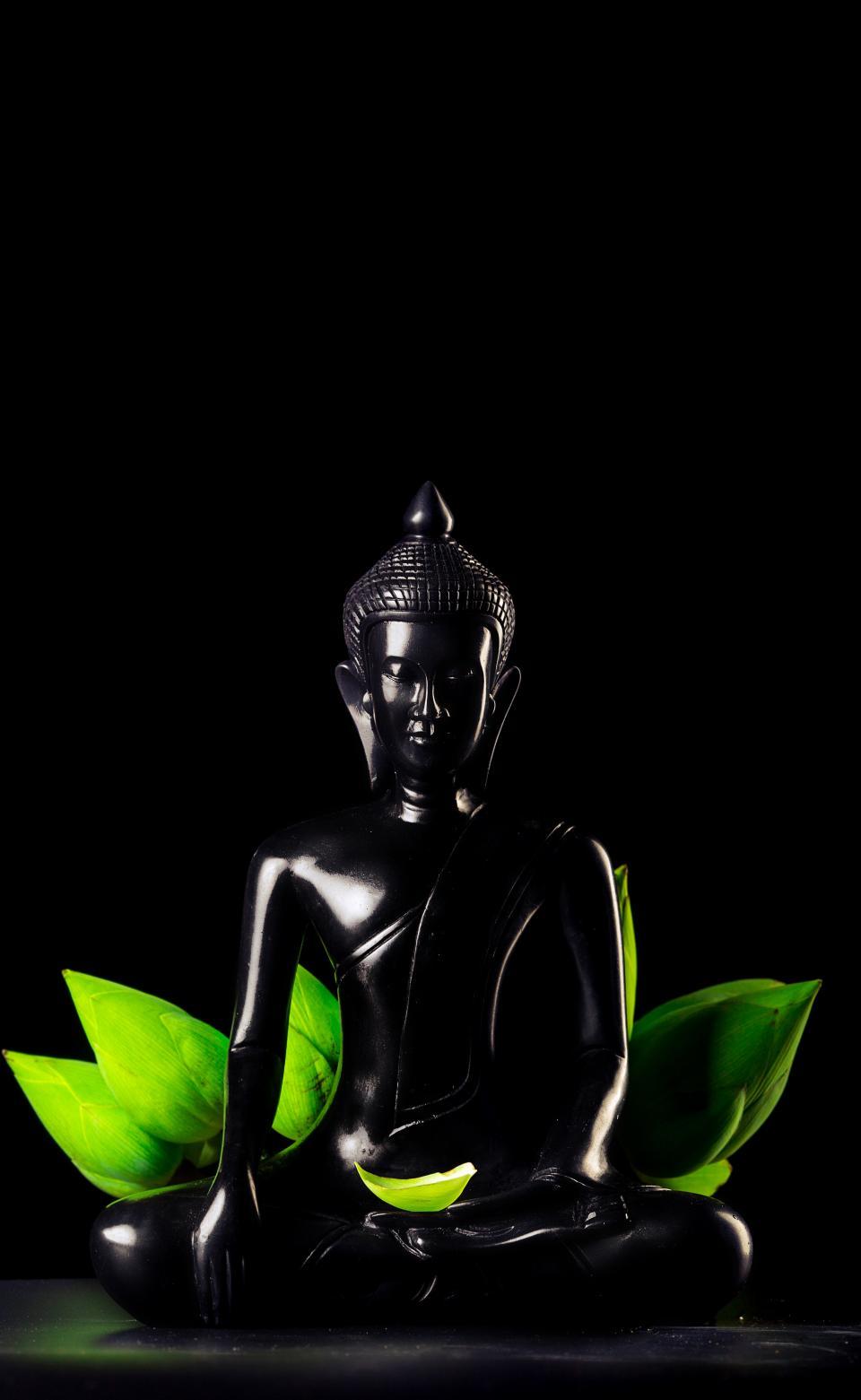 dark, black, ceramic, sculpture, statue, figure, art, design, display, buddha
