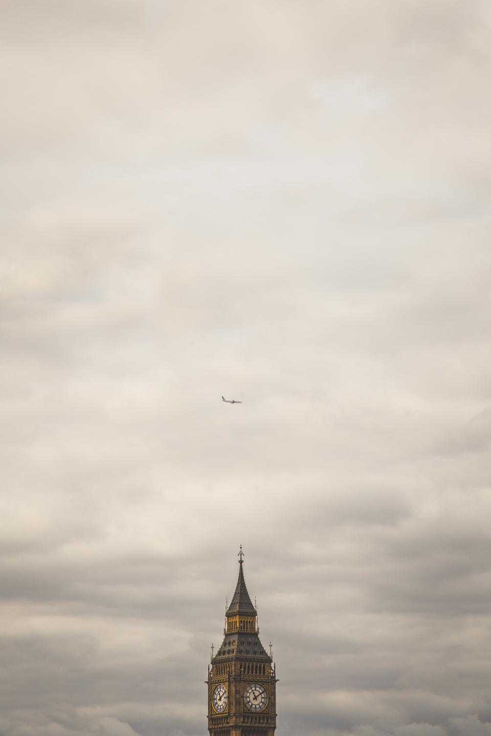 big ben, clock, time, building, architecture, sky, clouds, cloudy, airplane, travel, trip, transportation