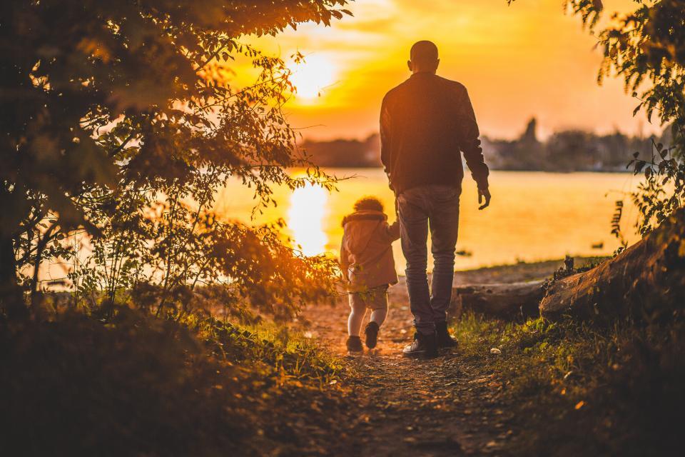 父親子供子供家族家族公園歩道森林木自然湖水夕暮れ夕暮れ