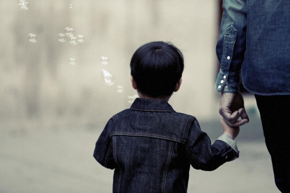 boy child kid family parent bubbles denim jacket people