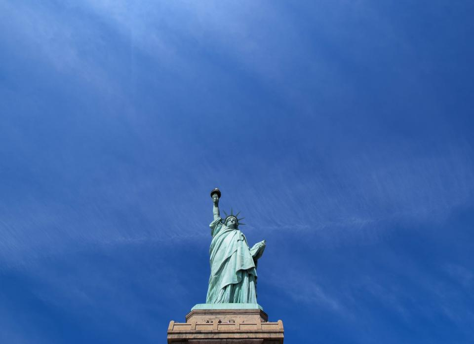 landmark, sculpture, art, statue, liberty, statue of liberty, blue, sky