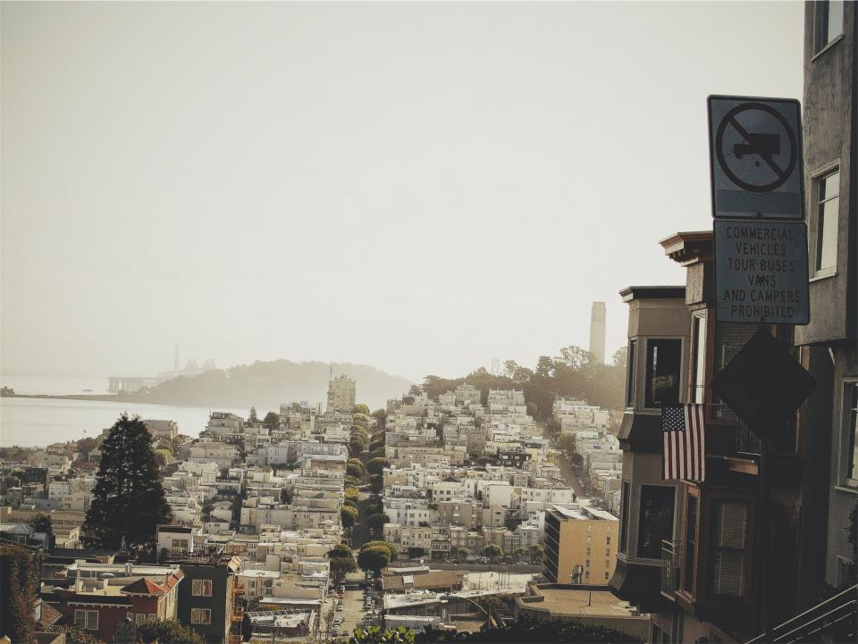 San Francisco, houses, city, streets, urban, American flag, USA, United States