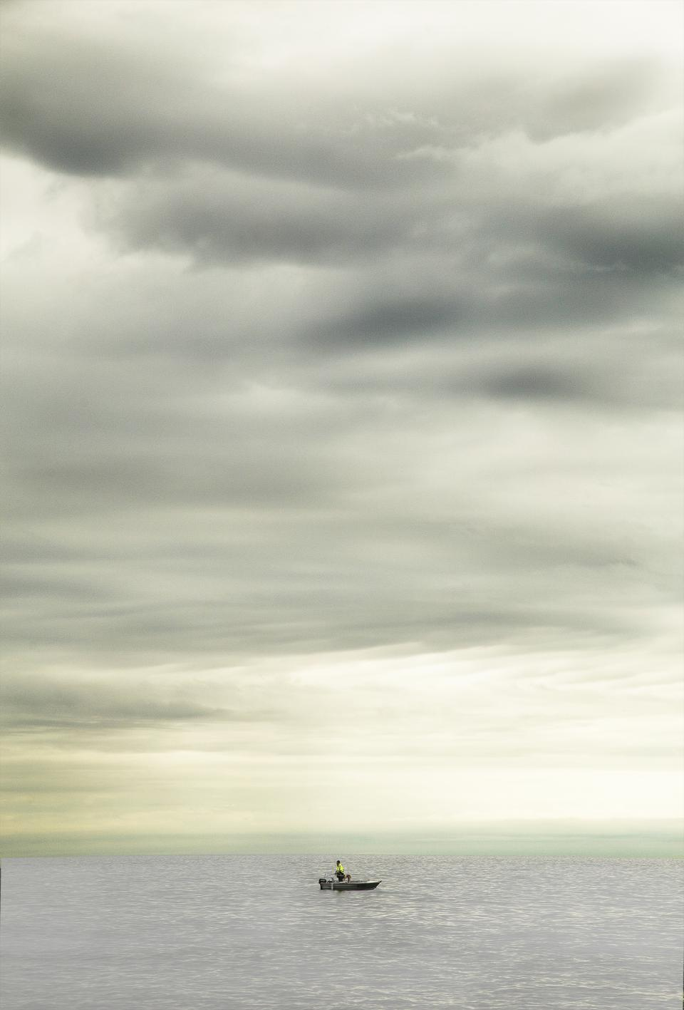 boat, ocean, sea, water, horizon, outdoors, sky, clouds, cloudy, storm, nature