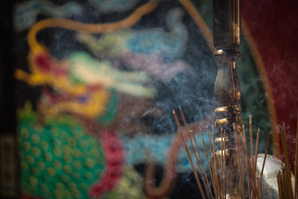 still, items, things, incense, smoke, burn, mural, wall, sculpture, bokeh