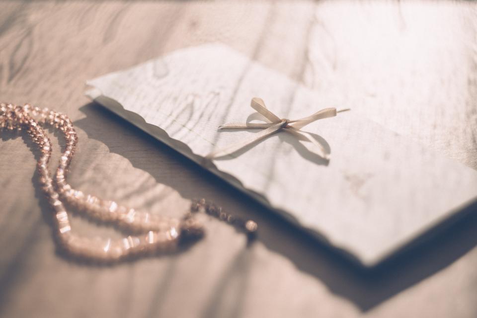 invitation envelope ribbon letter formal necklace morning light table