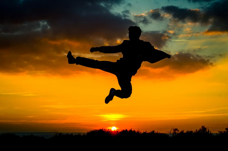 sky, clouds, sunset, tree, silhouette, martial, arts, people, man
