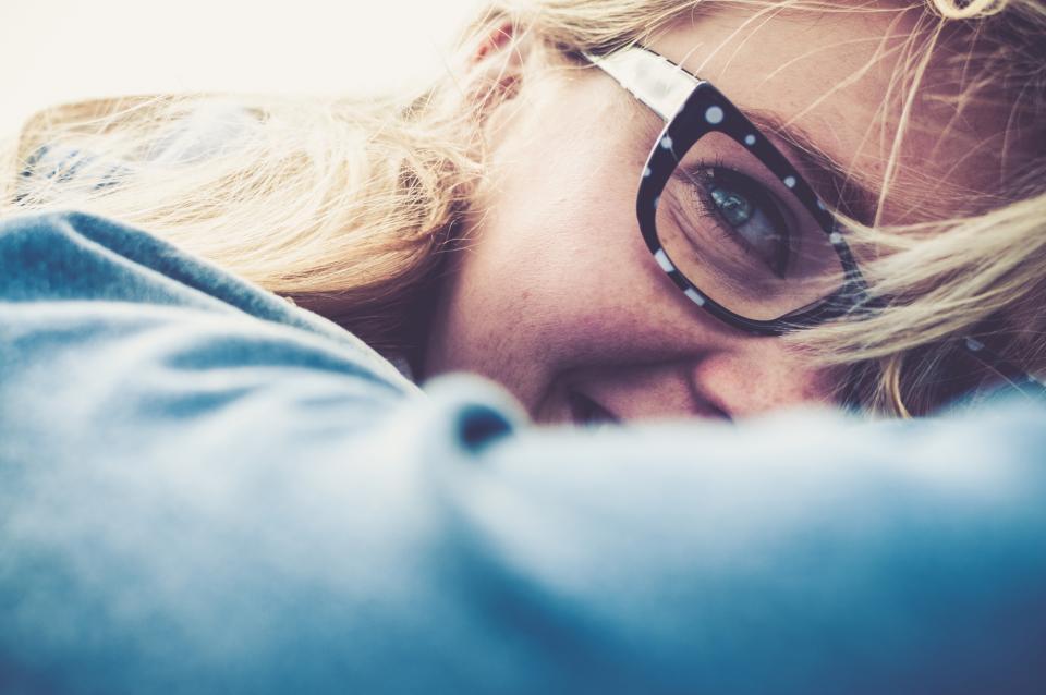 girl woman blonde eyeglasses people