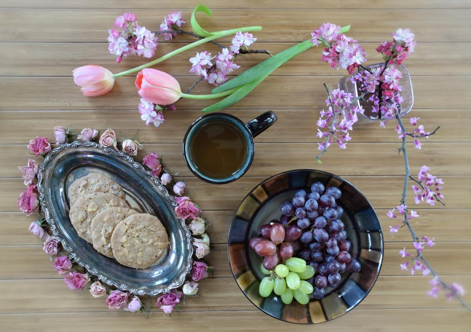 flower, pink, petal, bloom, garden, plant, nature, autumn, fall, violet, grape, cookie, bake, coffee, black