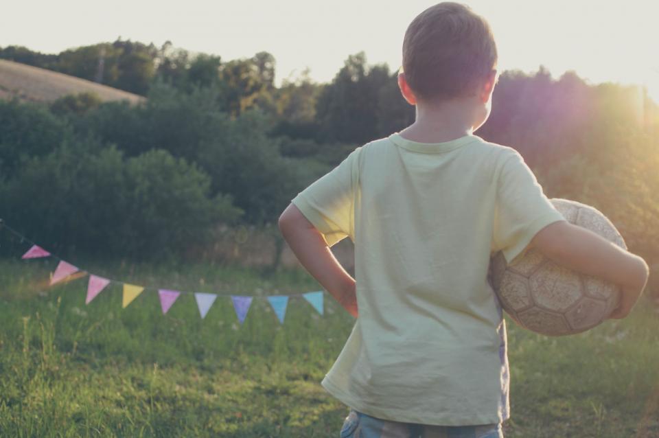 boy, child, kid, playing, sports, soccer ball, sunshine, summer, tshirt, people, grass, field, yard
