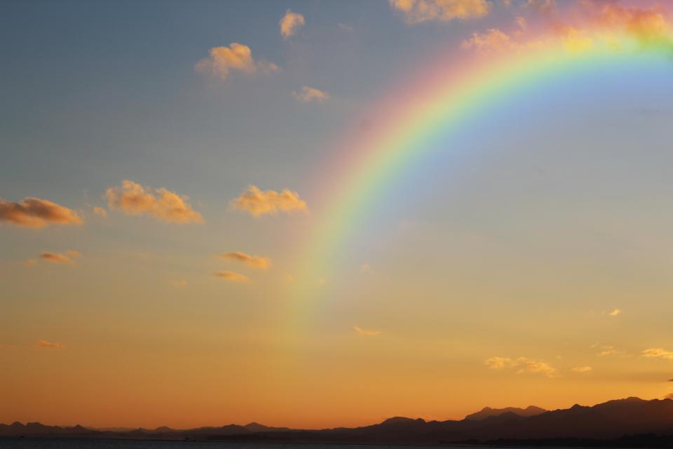 sunset cloud sky silhouette mountain landscape nature rainbow outdoor
