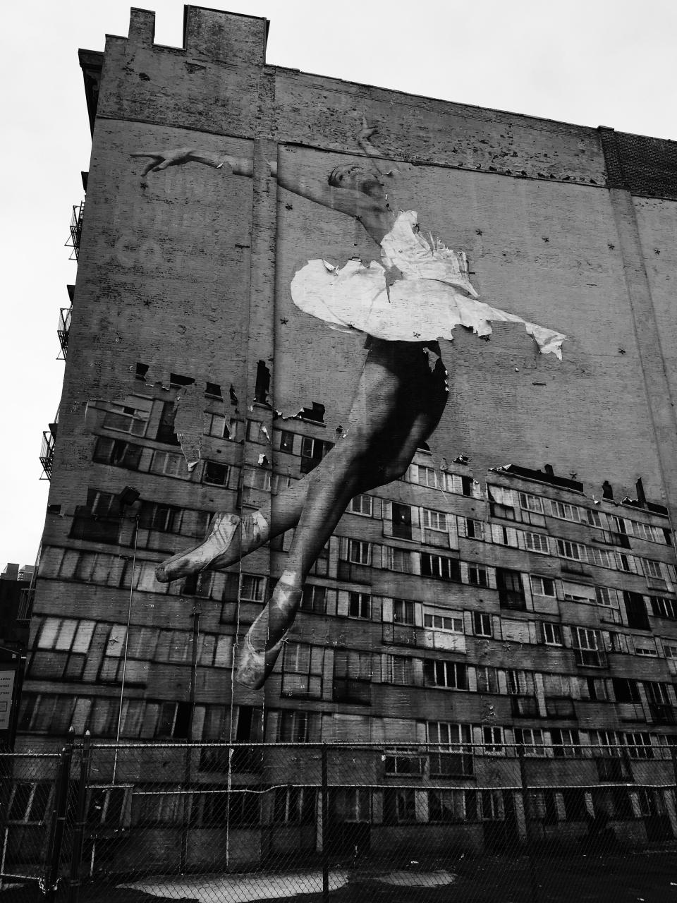 street art, vandal, graffiti, paint, design, art, street, black and white, monochrome, dancer, ballet, ballerina, ghetto