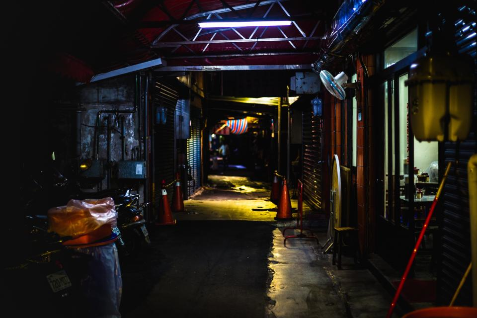 dark, night, lights, alley, house, motorcycle, park, outside