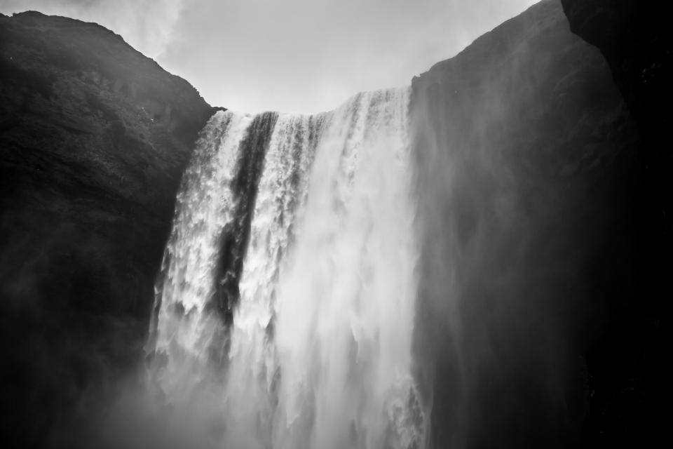 waterfalls, hill, landscape, nature, outdoor, black and white