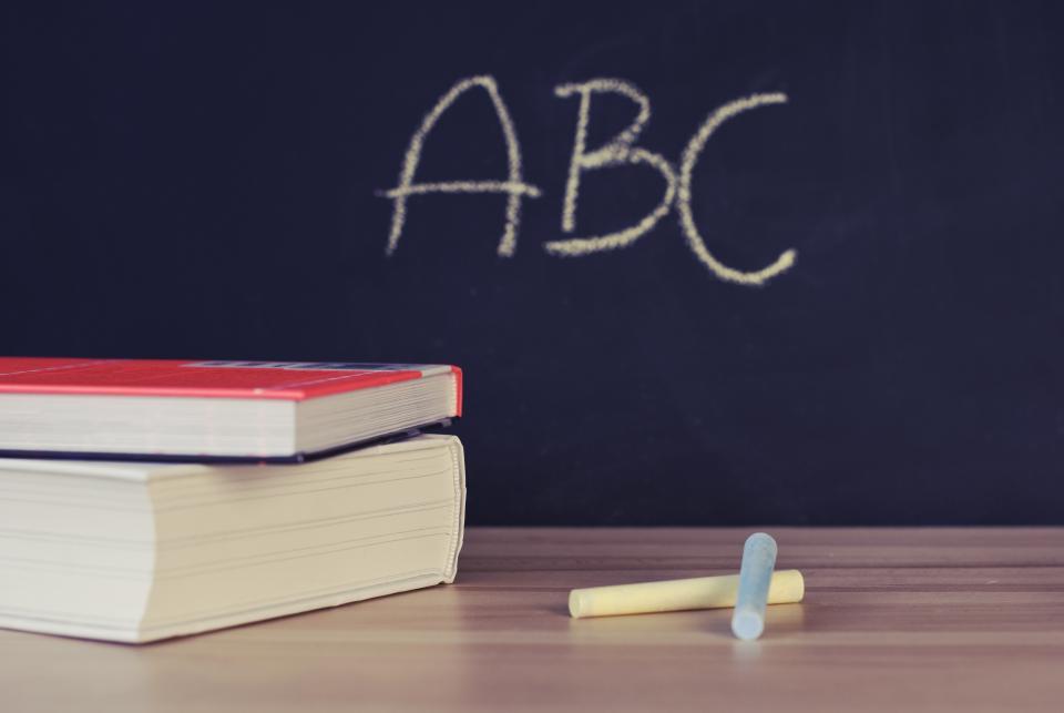 school books desk chalkboard chalk letters abc learning class