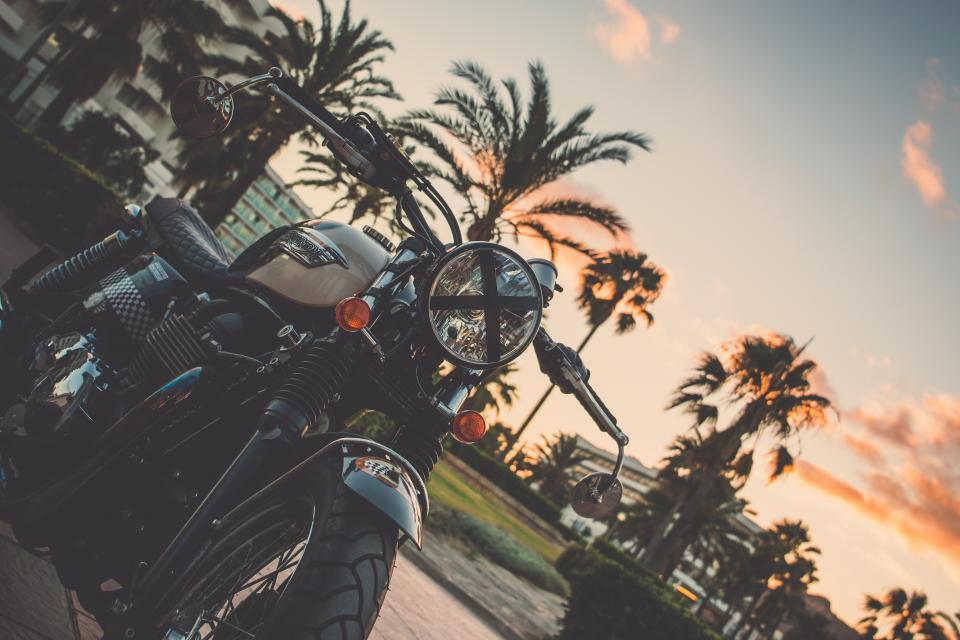 motorcycle, travel, trip, road, street, trees, outside, sky, sunset, building, park