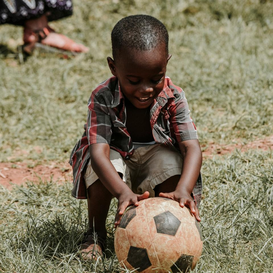 boy, child, kid, happy, soccer, ball, grass, african american, people, playing, outdoor