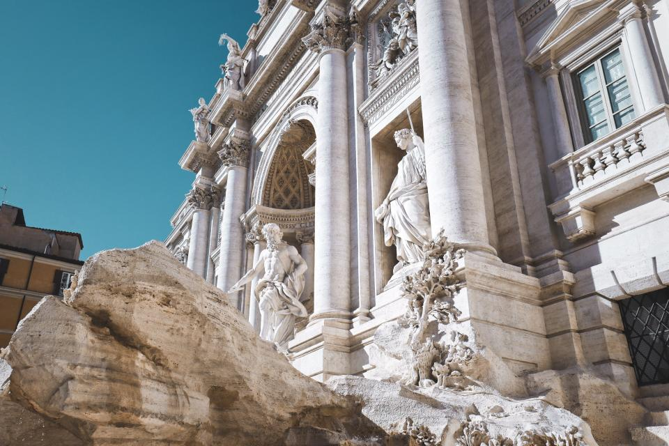 architecture, building, infrastructure, blue, sky, trevi fountain, italy, landmark