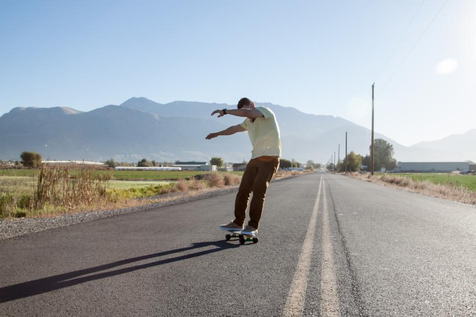 people, man, guy, skateboard, sport, game, adventure, sunny, day, street, road, sky