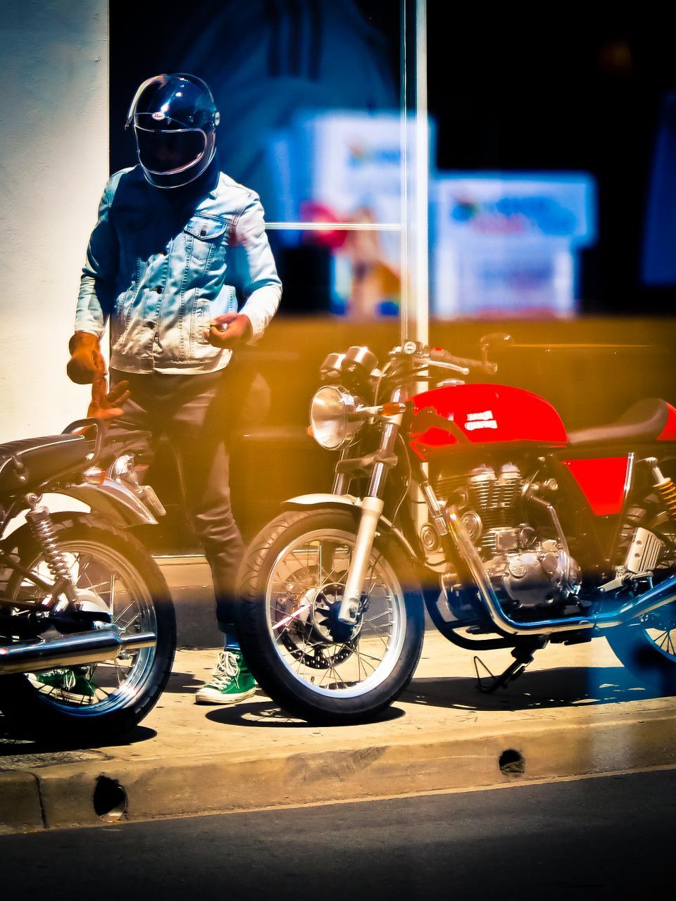 motor, motorcycle, travel, man, people, guy, rider, helmet, sidewalk