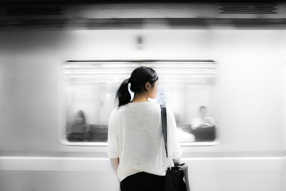 subway metro station transportation girl woman people ponytail
