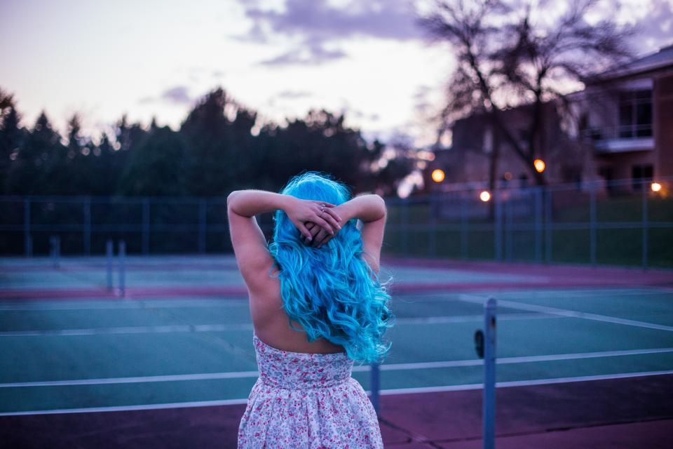 people, blue, hair, girl, tennis, court, tree, house, light, blur