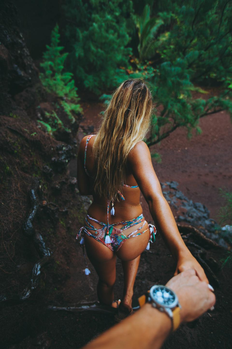 people, girl, female, sexy, swimsuit, swimming, holding hand, arm, watch, outdoor, nature