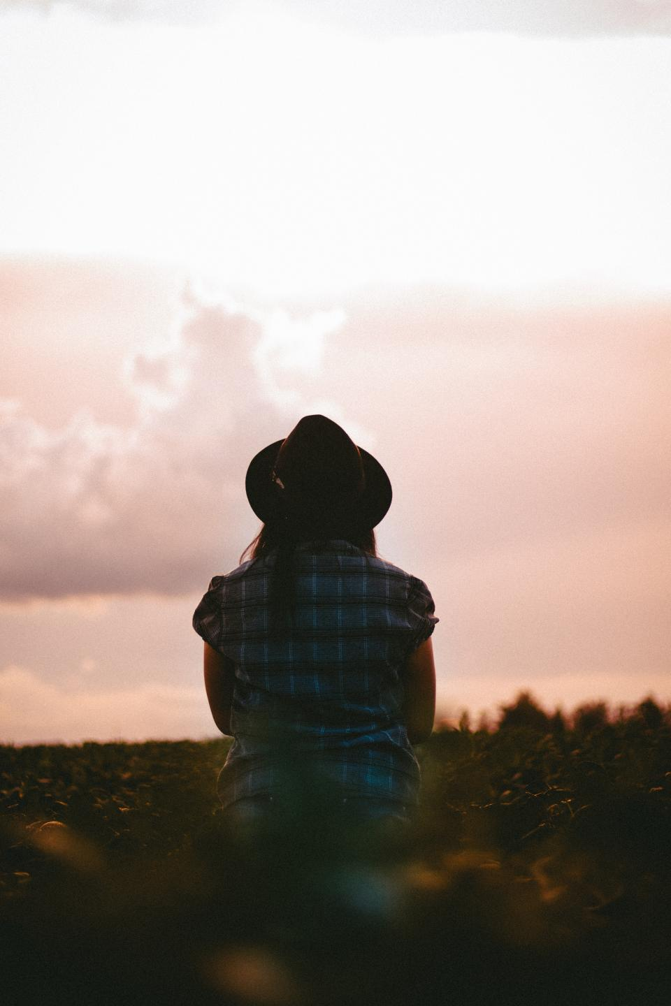 people, woman, checkered, grass, sunset, alone, clouds, sky, hat