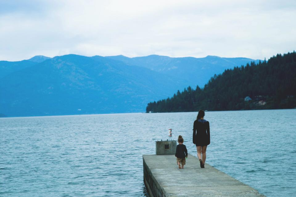 dock, lake, water, girl, woman, child, kid, mother, family, people, mountains, trees, forest, hills, nature, landscape, outdoors