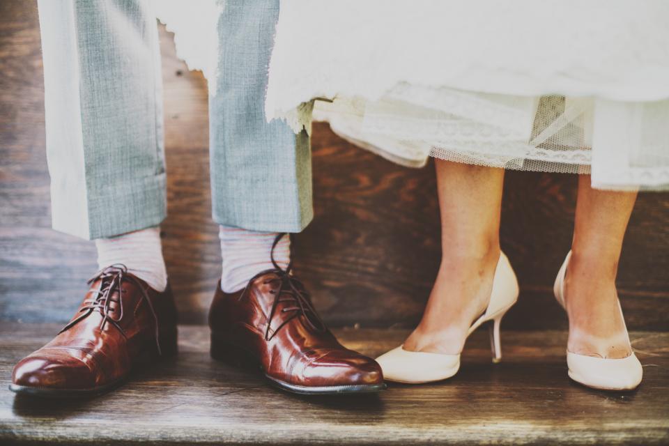 wedding, marriage, dress, shoes, high heels, fashion, socks, people, family