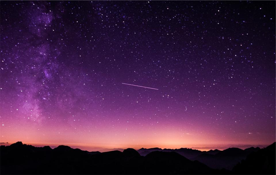 purple sky dusk shooting star stars silhouette galaxy