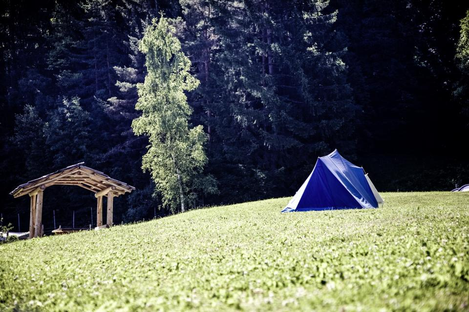 green, grass, highland, grassland, landscape, nature, mountain, hike, travel, outdoor, trees, plant, hut, tent, camping