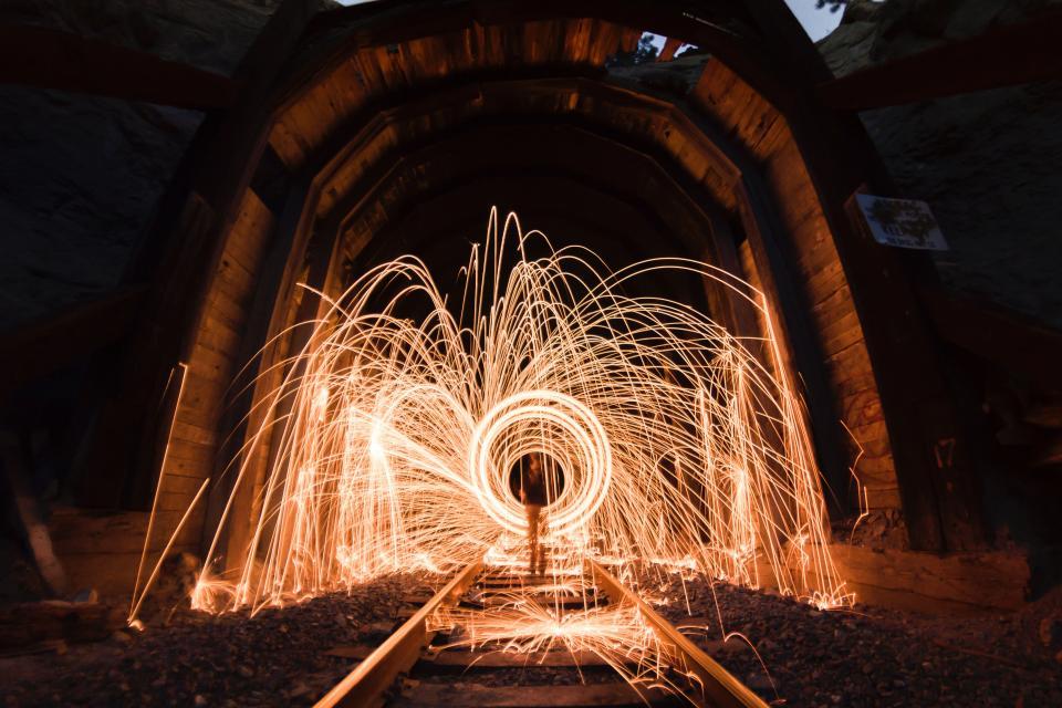 still fireworks light show flames slow shutter exposure night