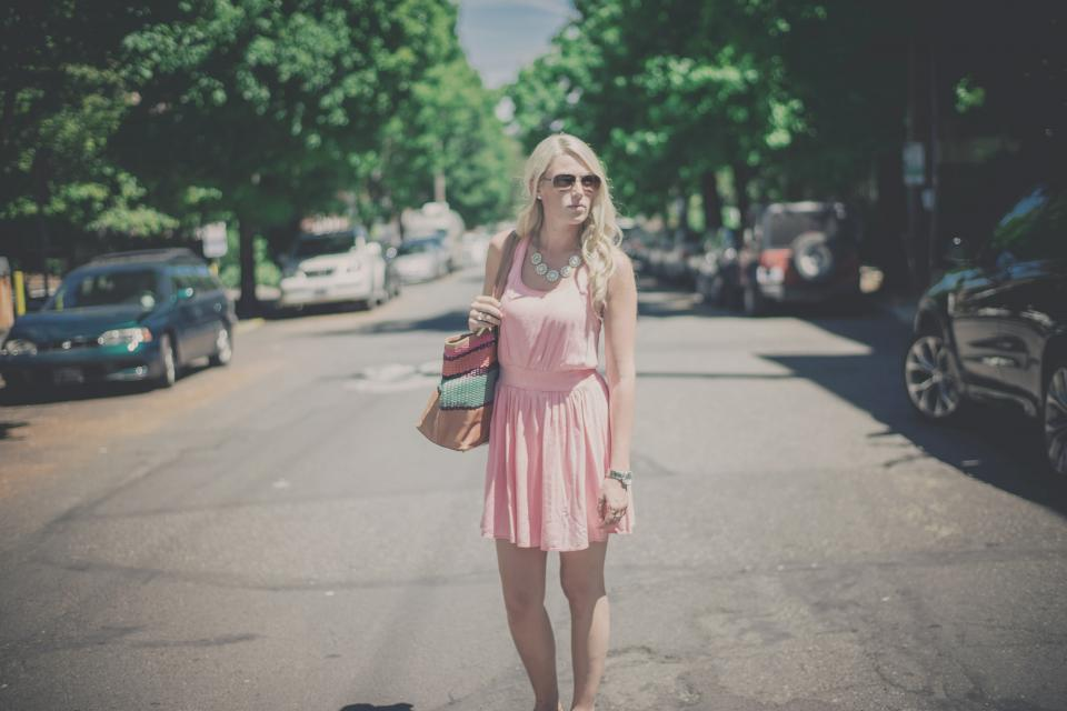girl woman blonde long hair pink dress fashion model pursue street road cars sunglasses people lifestyle city beauty