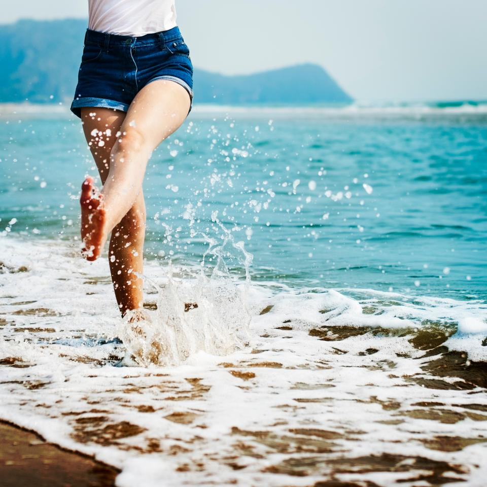 stomp, feet, people, woman, happy, waves, ocean, sea, adventure, travel, vacation, happy, blue, beach